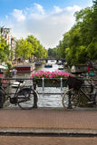 Amsterdam canal scene with bicycles and bridges. Holland stock photography