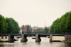 Amsterdam Canal Scene Royalty Free Stock Photography