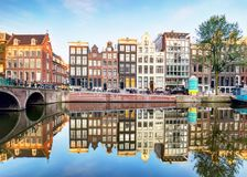 Amsterdam canal Singel with typical dutch houses, Holland, Netherlands. stock photography