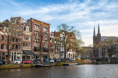 Amsterdam, canal in spring day Stock Images