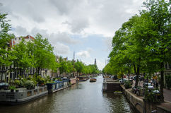 Amsterdam Canal. During the springtime stock images