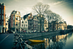 Amsterdam Canal Street view Stock Images
