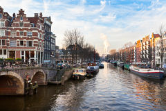 Amsterdam Canal Street view Royalty Free Stock Images