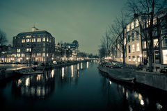 Amsterdam Canal Street view at Night Royalty Free Stock Images