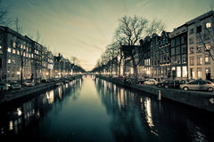 Amsterdam Canal Street view at Night Royalty Free Stock Photos