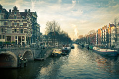 Amsterdam Canal Street view Stock Photo