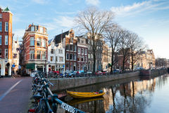 Amsterdam Canal Street view at Winter Stock Image