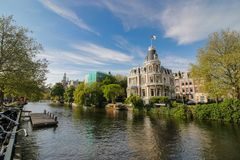Amsterdam mansion and canal streetscape royalty free stock photography