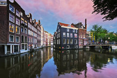 Amsterdam canal at sunset Royalty Free Stock Photography