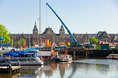 The Amsterdam canal system Stock Images