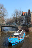 Amsterdam Canal Tour Boat Royalty Free Stock Photo