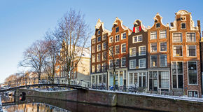 Amsterdam canal town houses Stock Photo