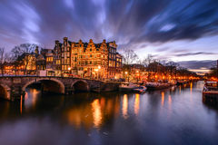 Amsterdam canal. During twilight time royalty free stock photography