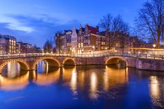 Amsterdam canal during twilight time Stock Photos