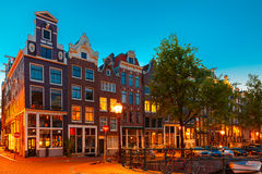 Amsterdam canal and typical house, Holland stock photography