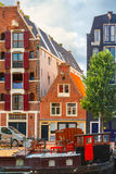 Amsterdam canal and typical house, Holland royalty free stock photos