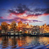 Amsterdam canal on the west. Capital and most densely populated Royalty Free Stock Photography