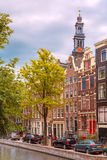 Amsterdam canal, Westerker and typical houses Royalty Free Stock Photo