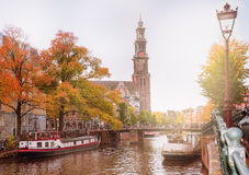 Amsterdam canal and Westerkerk Royalty Free Stock Photography