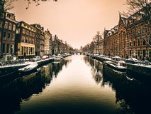 Amsterdam canal in winter Netherlands royalty free stock photos