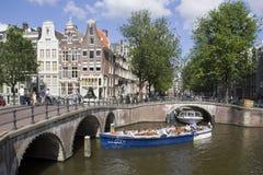 Amsterdam Canalboat Stock Photo
