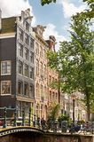Amsterdam canals. Typical Amsterdam : canals, bicycles and 17th century houses royalty free stock photos
