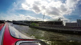 Amsterdam canals boat sunroof slow motion trip sky view stock video footage