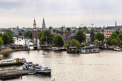 Amsterdam canals and  boats, Holland, Netherlands. Royalty Free Stock Image