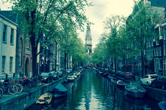 Amsterdam Canals. With a church tower in the end Royalty Free Stock Photography