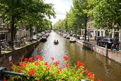 Amsterdam Canals in Holland Royalty Free Stock Images