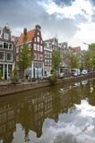 Amsterdam canals and houses with water reflections Stock Images