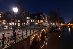 Amsterdam canals by night Royalty Free Stock Photography