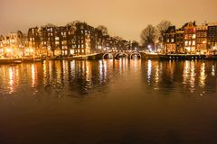 Amsterdam canals by night Royalty Free Stock Photo