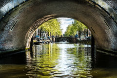 Amsterdam canals. The canals of Amsterdam seen from the canals. The view is on 9 of 1000 bridges of the city of Amsterdam in spring season stock photos