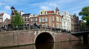 Amsterdam - Canals and typical dutch houses Stock Photos