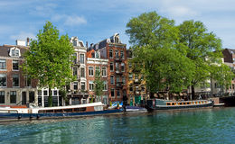 Amsterdam - Canals and typical dutch houses Royalty Free Stock Photography