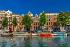 Amsterdam canals and typical houses, Holland Royalty Free Stock Photo