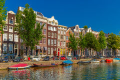 Amsterdam canals and typical houses, Holland Royalty Free Stock Images