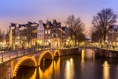 Amsterdam Canals. West side at dusk Natherlands Stock Image