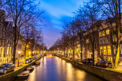 Amsterdam Canals. West side at dusk Natherlands Royalty Free Stock Photography