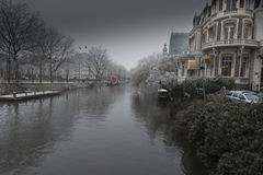 Amsterdam canalside building Stock Photo