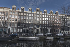 Amsterdam canalside buildings Stock Photography
