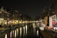 Amsterdam canel at Night Stock Photo