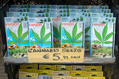Amsterdam - Cannabis seeds for sale in the street market Stock Photo