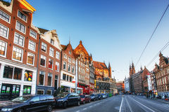 Amsterdam is the capital and most populous city in Netherlands. Scenic houses at sunset Royalty Free Stock Photography