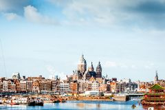 Skyline amsterdam. Amsterdam is the capital and most populous municipality of the Kingdom of the Netherlands. Amsterdam metropolitan area. The city is located in royalty free stock images