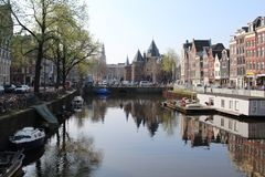 Picturesque neighborhood in the heart of amsterdam  with some amazing  reflections royalty free stock photos