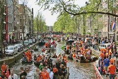 Amsterdam celebrating queensday. On the 30th of april 2010 in the Netherlands Stock Photo