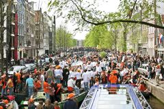 Amsterdam celebrating queensday Stock Image