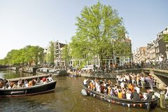 Amsterdam celebrating queensday Stock Images
